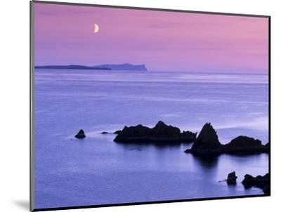 Sunset over Sand Wick and Rising Moon over Foula in Distance, Eshaness, Shetland, Scotland, UK-Patrick Dieudonne-Mounted Photographic Print
