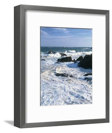 Waves Breaking on the Rocks Along the Corniche D'Esterel, Alpes-Maritimes, Provence, France-David Hughes-Framed Photographic Print