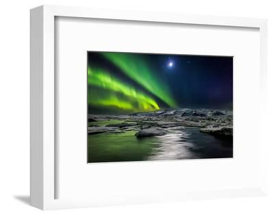 Moon and Aurora Borealis, Northern Lights with the Moon Illuminating the Skies and Icebergs--Framed Photographic Print