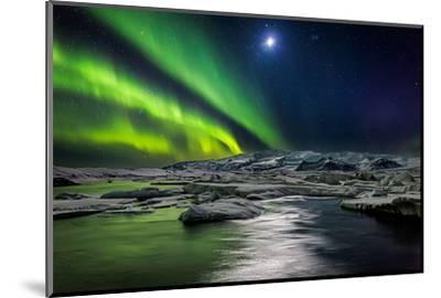Moon and Aurora Borealis, Northern Lights with the Moon Illuminating the Skies and Icebergs--Mounted Photographic Print