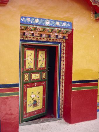 Traditional Painted Door in the Summer Palace of the Dalai Lama, Norbulingka, Lhasa, Tibet, China-Gina Corrigan-Photographic Print