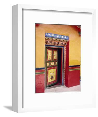 Traditional Painted Door in the Summer Palace of the Dalai Lama, Norbulingka, Lhasa, Tibet, China-Gina Corrigan-Framed Photographic Print