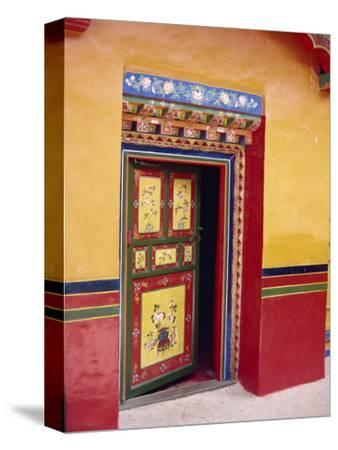 Traditional Painted Door in the Summer Palace of the Dalai Lama, Norbulingka, Lhasa, Tibet, China-Gina Corrigan-Stretched Canvas Print