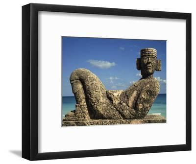 Statue of Chac-Mool, Cancun, Quitana Roo, Mexico, North America-Charles Bowman-Framed Photographic Print