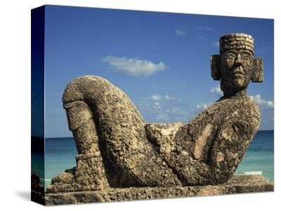 Statue of Chac-Mool, Cancun, Quitana Roo, Mexico, North America-Charles Bowman-Stretched Canvas Print