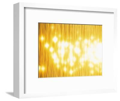 Abstract Bright Yellow Background with Sparks--Framed Photographic Print