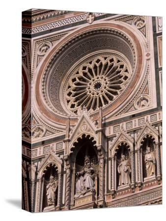 Rose Window and Facade of Polychrome Marble, Duomo Santa Maria Del Fiore, Florence, Tuscany, Italy-Patrick Dieudonne-Stretched Canvas Print