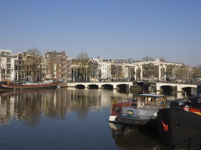 Amstel River and Magere Bridge, Amsterdam, Netherlands, Europe-Amanda Hall-Premium Photographic Print