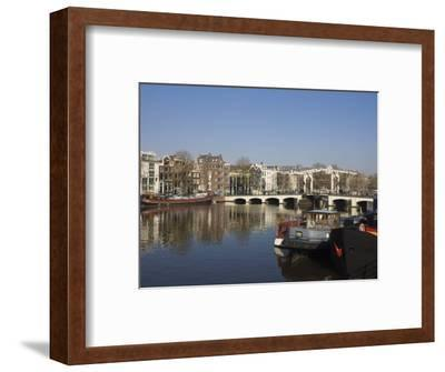 Amstel River and Magere Bridge, Amsterdam, Netherlands, Europe-Amanda Hall-Framed Photographic Print