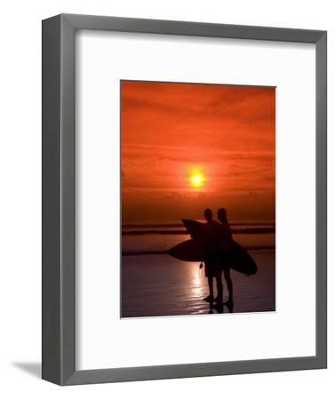 Two Surfers Calling it a Day, Kuta Beach, Bali, Indonesia, Southeast Asia, Asia-Richard Maschmeyer-Framed Photographic Print
