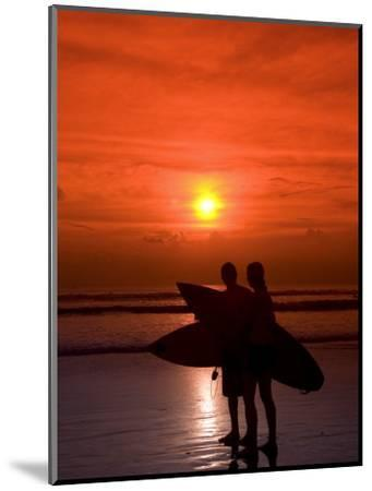 Two Surfers Calling it a Day, Kuta Beach, Bali, Indonesia, Southeast Asia, Asia-Richard Maschmeyer-Mounted Photographic Print