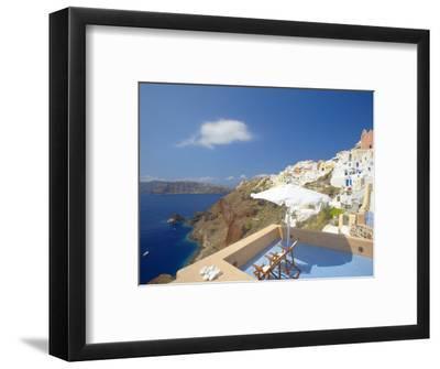 Terrace in Oia, Santorini, Cyclades, Greek Islands, Greece, Europe-Papadopoulos Sakis-Framed Photographic Print