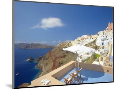 Terrace in Oia, Santorini, Cyclades, Greek Islands, Greece, Europe-Papadopoulos Sakis-Mounted Photographic Print