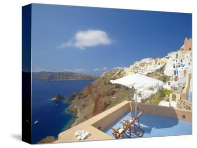 Terrace in Oia, Santorini, Cyclades, Greek Islands, Greece, Europe-Papadopoulos Sakis-Stretched Canvas Print