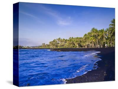 Punaluu Black Sand Beach, Big Island, Hawaii, United States of America, Pacific, North America-Michael DeFreitas-Stretched Canvas Print
