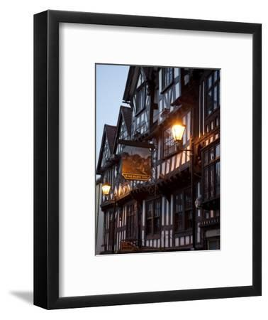 Ye Old Bullring Tavern Public House Dating from 14th Century, at Night, Ludlow, Shropshire, England-Nick Servian-Framed Photographic Print