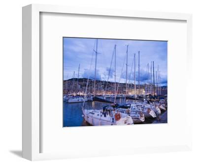 Boats in Porto Vecchio Marina, Genoa (Genova), Liguria, Italy, Europe-Christian Kober-Framed Photographic Print