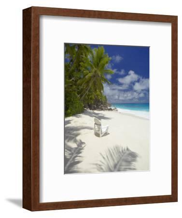 Adirondack Chair and Tropical Beach, Seychelles, Indian Ocean, Africa-Sakis Papadopoulos-Framed Photographic Print