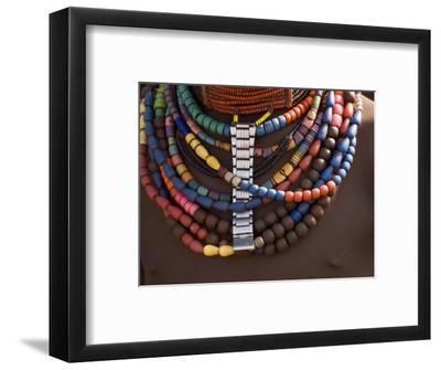 Close-Up of Bead Necklaces of a Hamer Woman, Turmi, Omo Region, Ethiopia, Africa-Carlo Morucchio-Framed Photographic Print