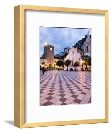 Piazza Ix Aprile, with the Torre Dell Orologio and San Giuseppe Church, Taormina, Sicily, Italy-Martin Child-Framed Photographic Print