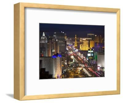 Elevated View of the Hotels and Casinos Along the Strip at Dusk, Las Vegas, Nevada, USA-Gavin Hellier-Framed Photographic Print