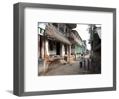 Artists Houses with Thatched Roofs in Main Street of Artists' Village, Raghurajpur, Orissa, Inda-Annie Owen-Framed Photographic Print