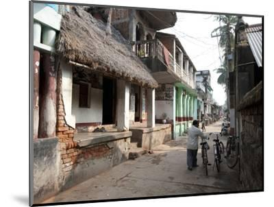 Artists Houses with Thatched Roofs in Main Street of Artists' Village, Raghurajpur, Orissa, Inda-Annie Owen-Mounted Photographic Print