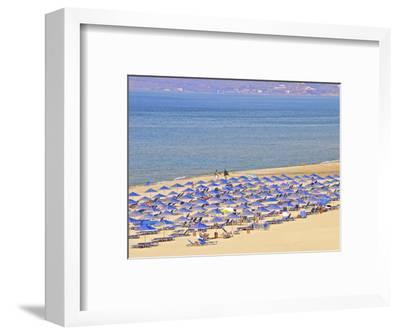 Beach and Sunshades on Beach at Giorgioupolis, Crete, Greek Islands, Greece, Europe-Guy Thouvenin-Framed Photographic Print