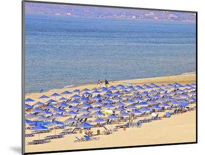 Beach and Sunshades on Beach at Giorgioupolis, Crete, Greek Islands, Greece, Europe-Guy Thouvenin-Mounted Photographic Print
