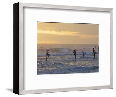 Stilt Fishermen at Weligama, South Coast, Sri Lanka, Asia-Peter Barritt-Framed Photographic Print