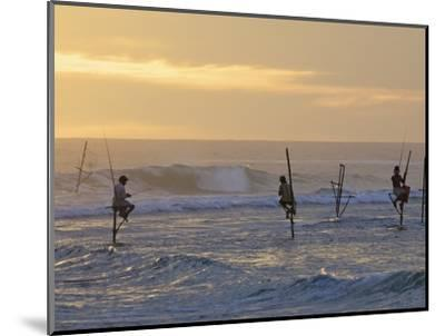 Stilt Fishermen at Weligama, South Coast, Sri Lanka, Asia-Peter Barritt-Mounted Photographic Print