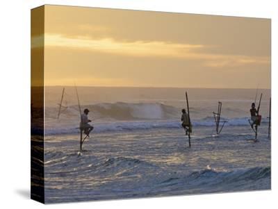Stilt Fishermen at Weligama, South Coast, Sri Lanka, Asia-Peter Barritt-Stretched Canvas Print