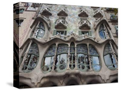Facade of Casa Batllo by Gaudi, UNESCO World Heritage Site, Passeig de Gracia, Barcelona, Spain-Nico Tondini-Stretched Canvas Print