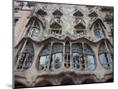 Facade of Casa Batllo by Gaudi, UNESCO World Heritage Site, Passeig de Gracia, Barcelona, Spain-Nico Tondini-Mounted Photographic Print