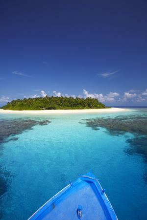 Boat Heading for Desert Island, Maldives, Indian Ocean, Asia-Sakis Papadopoulos-Photographic Print