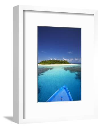 Boat Heading for Desert Island, Maldives, Indian Ocean, Asia-Sakis Papadopoulos-Framed Photographic Print