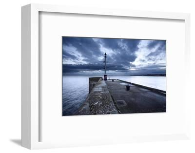 Sea Wall and Harbour Light at Bridlington, East Riding of Yorkshire, England, United Kingdom-Mark Sunderland-Framed Photographic Print