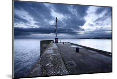 Sea Wall and Harbour Light at Bridlington, East Riding of Yorkshire, England, United Kingdom-Mark Sunderland-Mounted Photographic Print