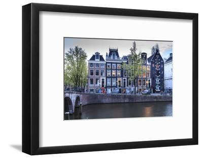 Old Gabled Houses Line the Keizersgracht Canal at Dusk, Amsterdam, Netherlands, Europe-Amanda Hall-Framed Photographic Print