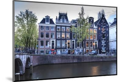 Old Gabled Houses Line the Keizersgracht Canal at Dusk, Amsterdam, Netherlands, Europe-Amanda Hall-Mounted Photographic Print