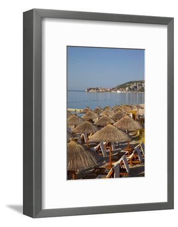 View of Budva Old Town and Beach, Budva Bay, Montenegro, Europe-Frank Fell-Framed Photographic Print