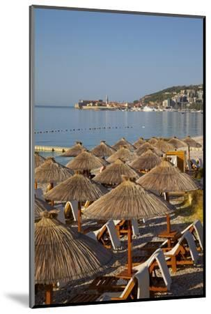 View of Budva Old Town and Beach, Budva Bay, Montenegro, Europe-Frank Fell-Mounted Photographic Print