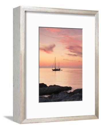 Sunset at the Coast Near Centuri Port, Corsica, France, Mediterranean, Europe-Markus Lange-Framed Photographic Print