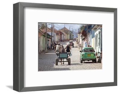 Horse and Cart and Vintage American Car on Cobbled Street in the Historic Centre of Trinidad-Lee Frost-Framed Photographic Print