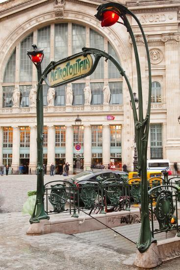 The Art Nouveau Entrance to Gare Du Nord Metro Station with the Main Railway Station Behind-Julian Elliott-Photographic Print