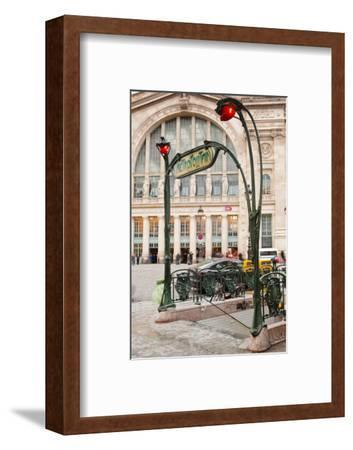 The Art Nouveau Entrance to Gare Du Nord Metro Station with the Main Railway Station Behind-Julian Elliott-Framed Photographic Print