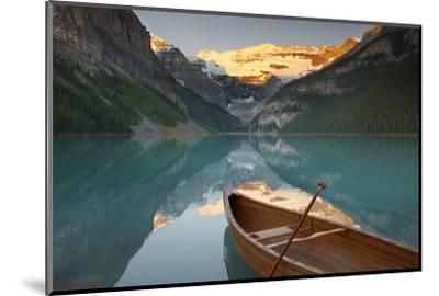 Canoe on Lake Louise at Sunrise-Miles Ertman-Mounted Photographic Print