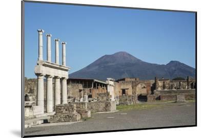 The Forum and Vesuvius Volcano, Pompeii, UNESCO World Heritage Site, Campania, Italy, Europe-Angelo Cavalli-Mounted Photographic Print