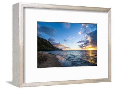 Sunset on the Napali Coast, Kauai, Hawaii,United States of America, Pacific-Michael Runkel-Framed Photographic Print