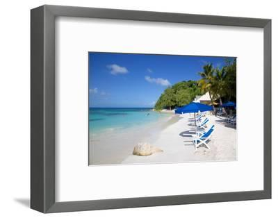 Beach and Sunshades, Long Bay, Antigua, Leeward Islands, West Indies, Caribbean, Central America-Frank Fell-Framed Photographic Print